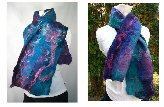 Nuno felt scarf, product photography, kentucky blue fiber