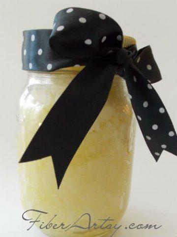 DIY Own Lemon Sugar Hand Scrub recipe, Fiberartsy.com