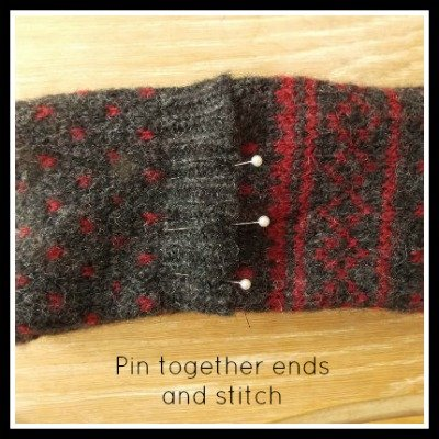 How to make a headband, ear warmer from a sweater, Fiberartsy.com