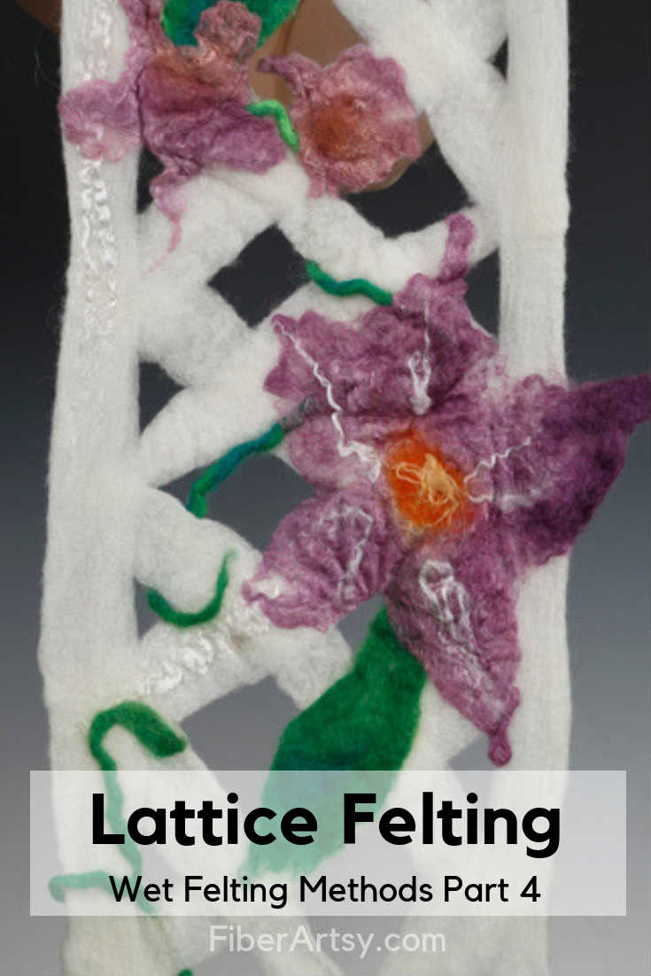 Merino Wool Lattice Felted Scarf with Wet Felted Flowers of Alpaca Fiber and Silk