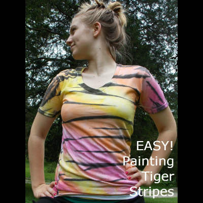 How to Paint a Tiger Striped T-shirt, Fiberartsy.com