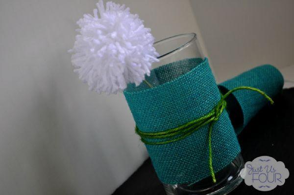 Scrap Yarn Pom Pom Flowers