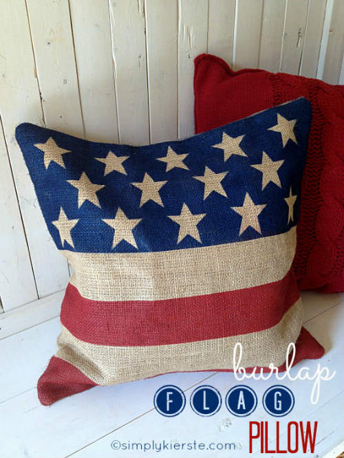 Burlap Pillow painted with American Flag design
