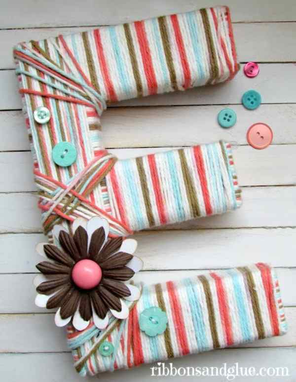 Yarn Wrapped Letters Decoration