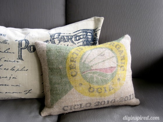 Pillow made with recycled coffee sack burlap