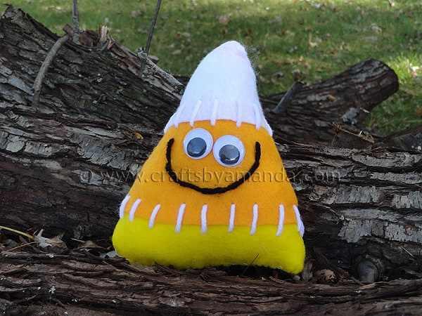 Toy Candy Corn Softie with Scrap Yarn