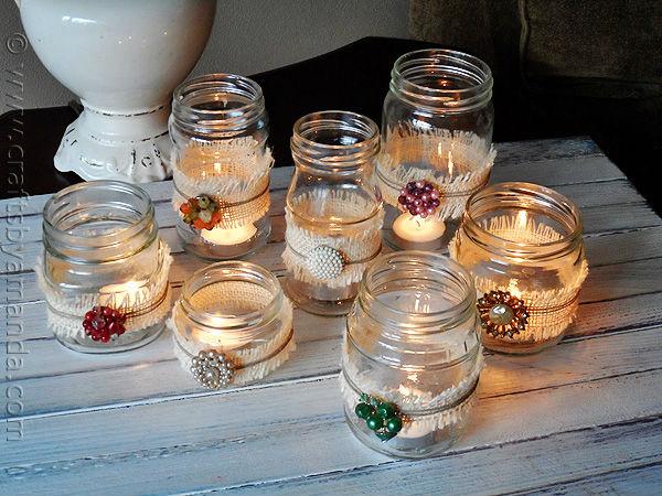 Candle Luminaries with Burlap Ribbon