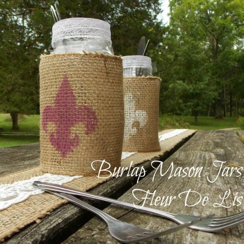 Burlap Wrapped Mason Jars, Fall Table Decor