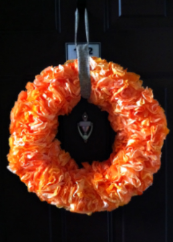 Orange Coffee Filter Wreath for Autumn Decor