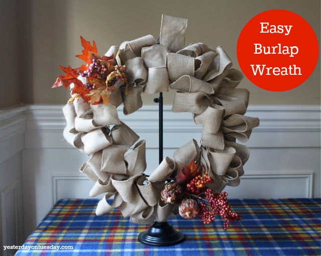 Easy DIY Wreath made with Burlap Ribbon