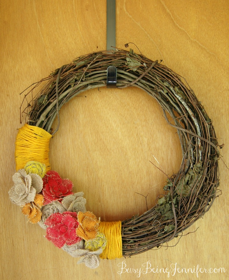 Painted Burlap Flowers on a Grapevine Wreath