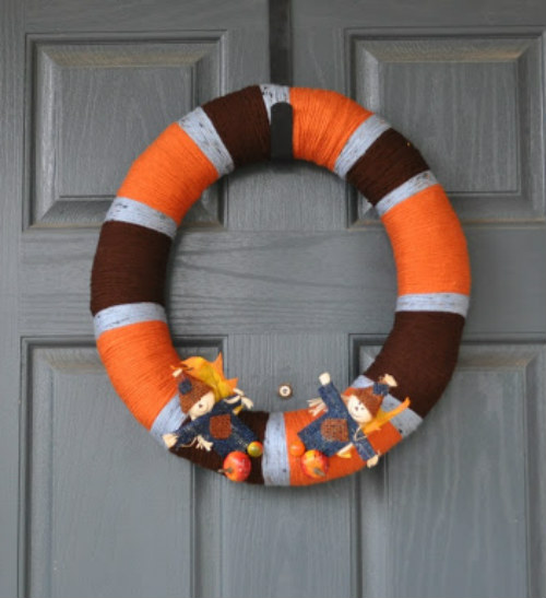 Orange and Brown Wreath for the Front Door