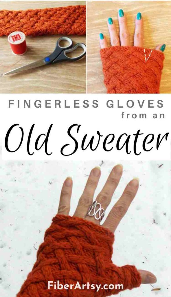 DIY Fingerless Gloves from an Old Sweater