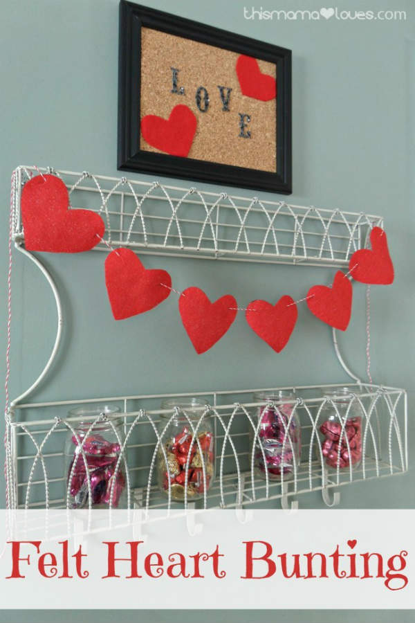 DIY Bunting made with Felt Hearts