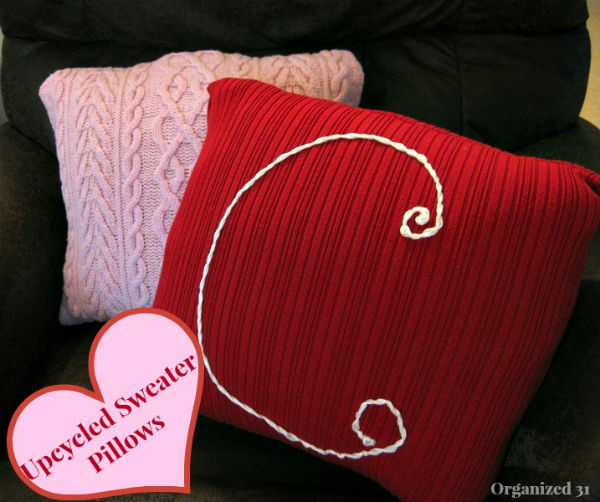 Valentine Pillow made from Upcycled Sweaters