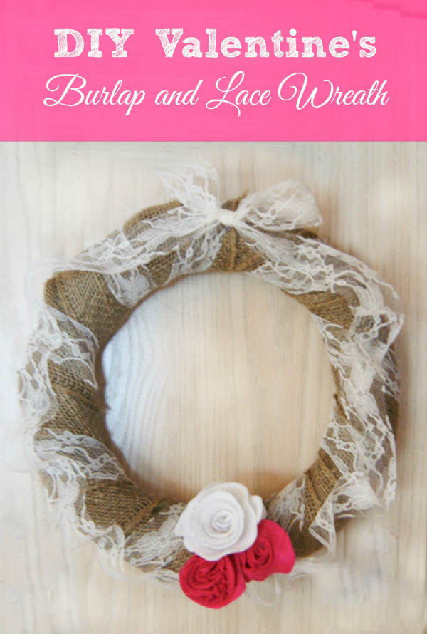 Valentine Crafts for Adults. Burlap and Lace Valentine Wreath Idea