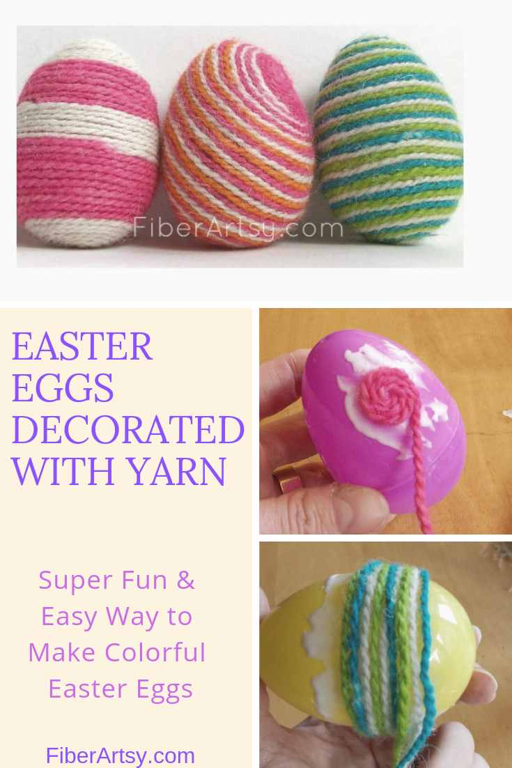 Decorating Easter Eggs with Yarn