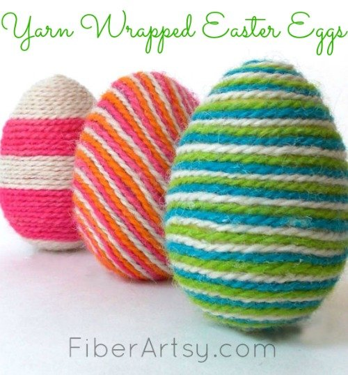 Wrapping Easter Eggs with Colorful Yarn