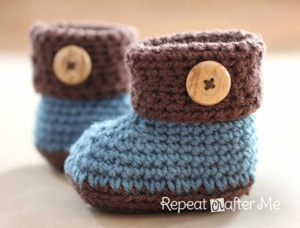Cuffed Crochet Baby Booties Free Pattern