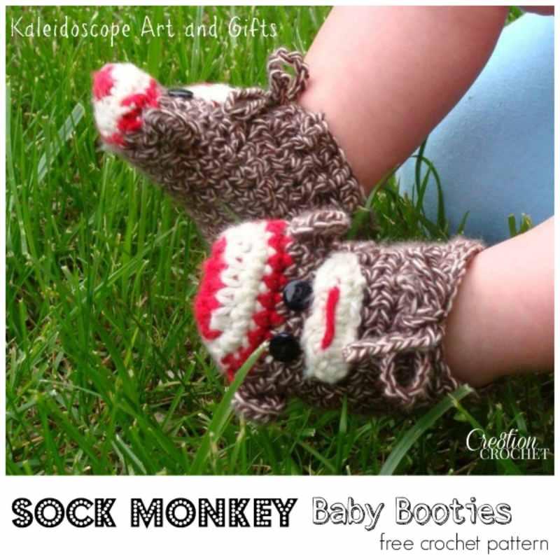 Sock Monkey Crochet Baby Booties