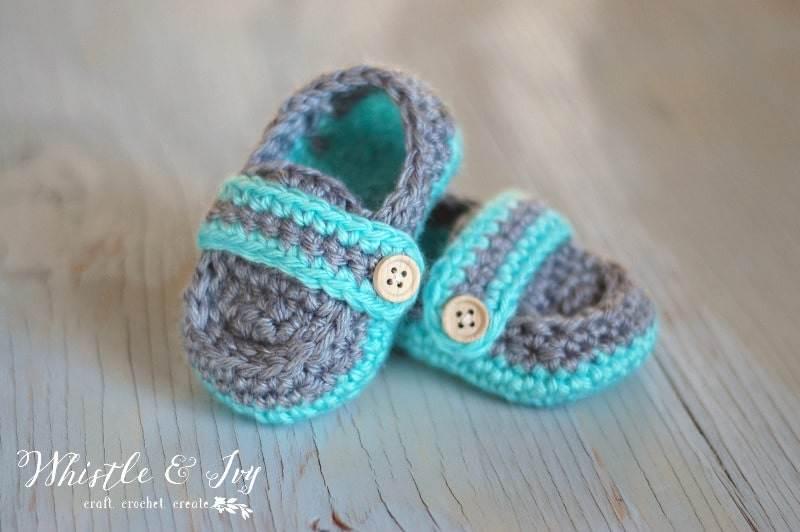Monk Strap baby shoe crochet pattern