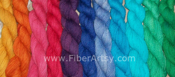 Skeins of Merino Sheep Wool and Alpaca Yarn Dyed with Jacquard Acid Dyes in Solid Colors