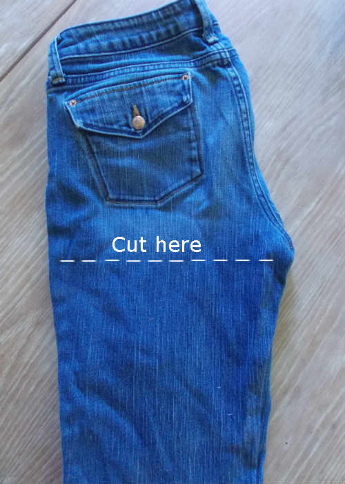Cut the legs off your blue jeans to make yarn