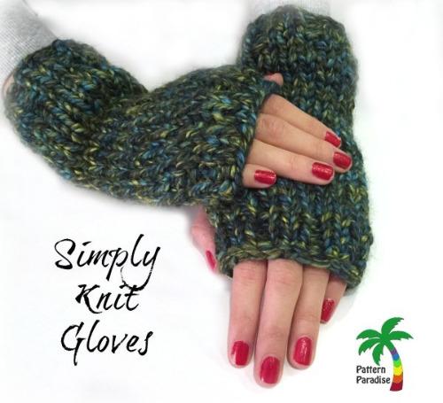 Easy Knit Fingerless Gloves by Pattern Paradise