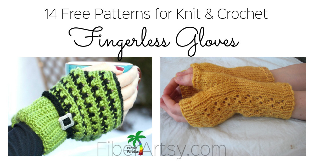 14 Knit and Crochet Fingerless Gloves Patterns by Fiberartsy.com