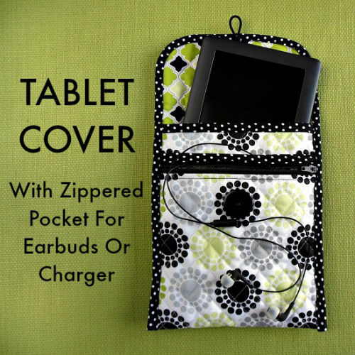 DIY Tablet Cover with Zippered Pocket Sewing Tutorial Gifts for Readers