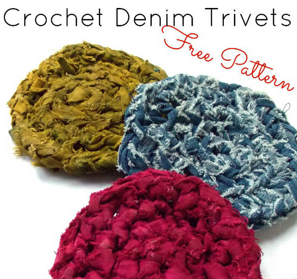 How to Crochet Denim Trivets - FiberArtsy.com