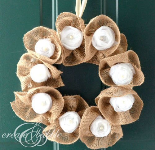 DIY Wreath made with Burlap and Tulle