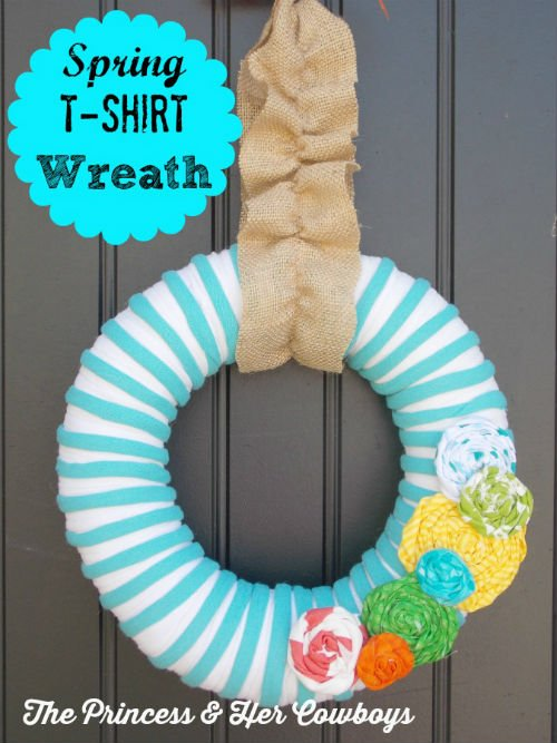 Spring Wreath made with T shirt