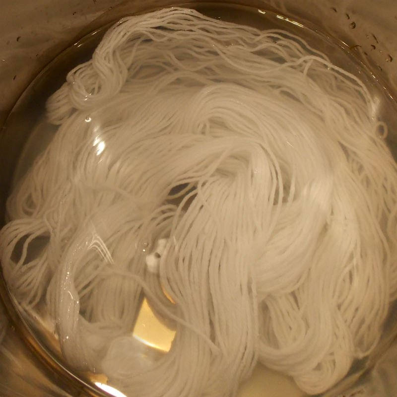 Wool Yarn soaking in Mordant for Dyeing