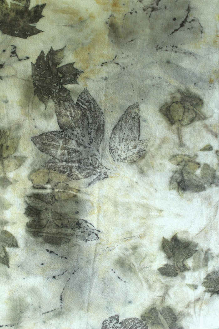 Eco Print Leaves on Cotton with an Iron Modifier