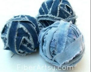 Make Denim Yarn from old jeans. Recycled Upcycled Denim Jeans Projects by FiberArtsy.com