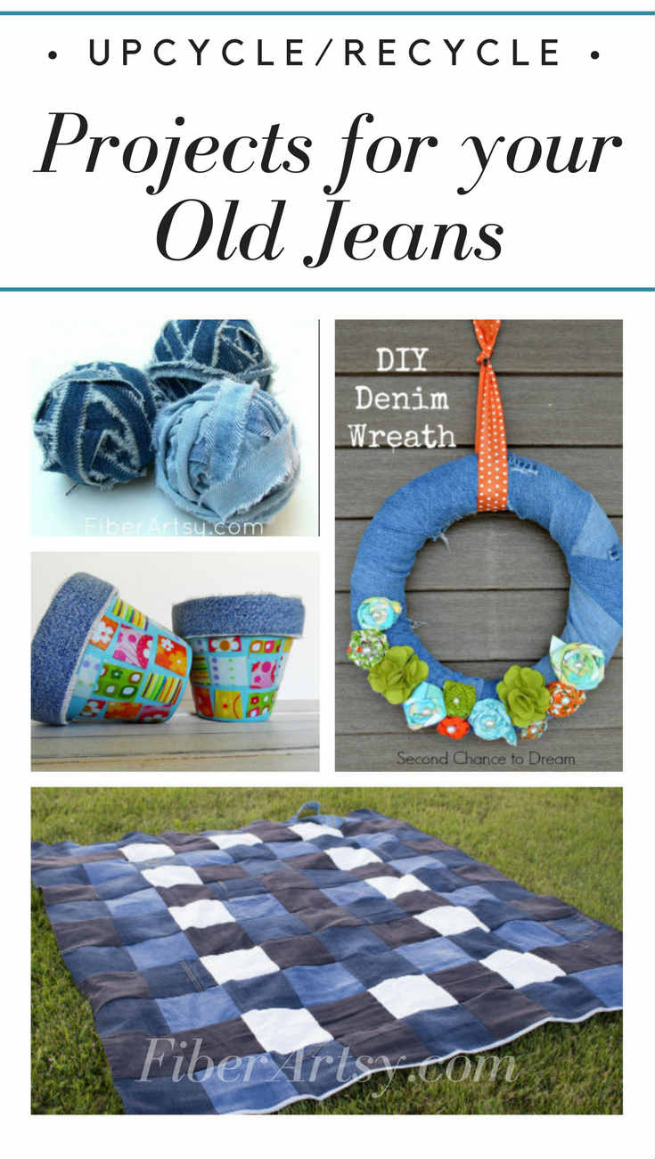 Recycled Jeans! 12 Denim Craft Projects - Upcycle your denim jeans into something fun with these  fabric sewing crafts from FiberArtsy.com