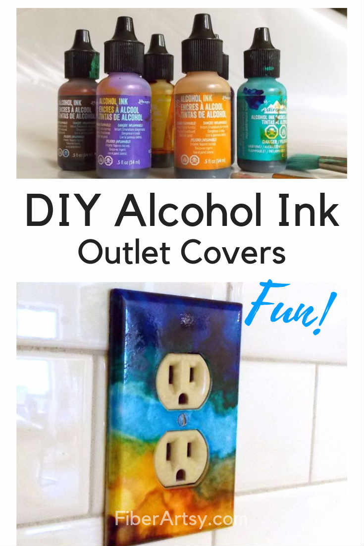 DIY Alcohol Ink Art Outlet Covers. Add a pop of Color to your Home Decor by painting your outlet covers and switch plates with Alcohol Ink.
