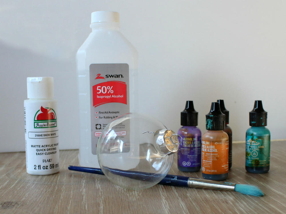 Supplies for painting Alcohol Ink Ornaments