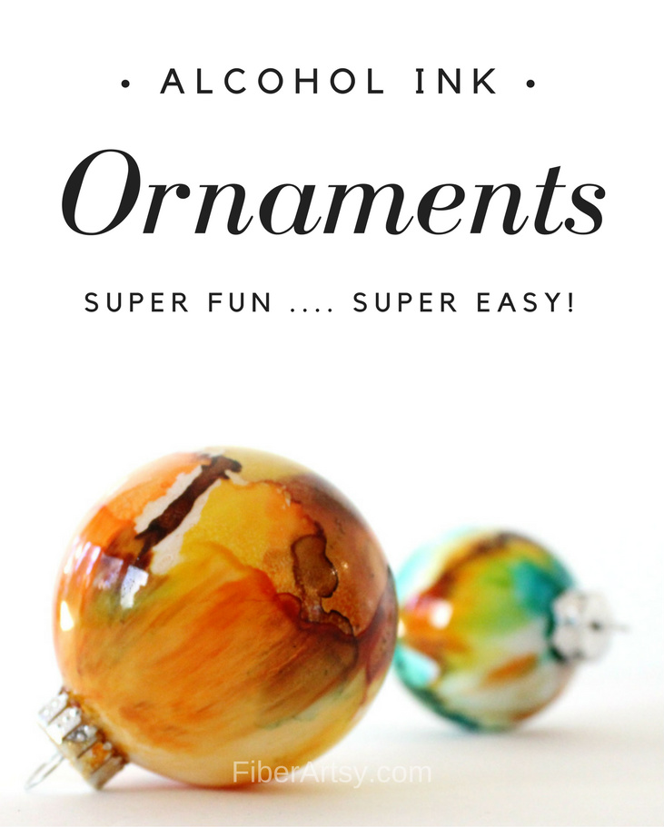 Ornament Ideas - Easy Alcohol Ink Christmas Ornaments. A super fun and super easy glass painting technique. A free FiberArtsy.com tutorial