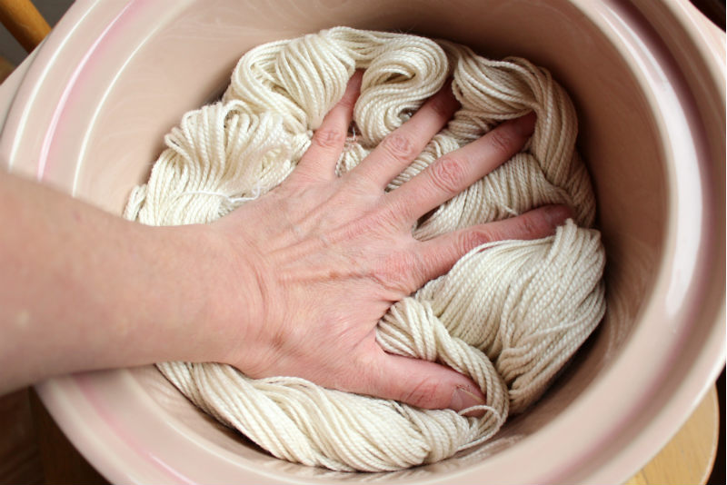 protein wool yarn in crock pot