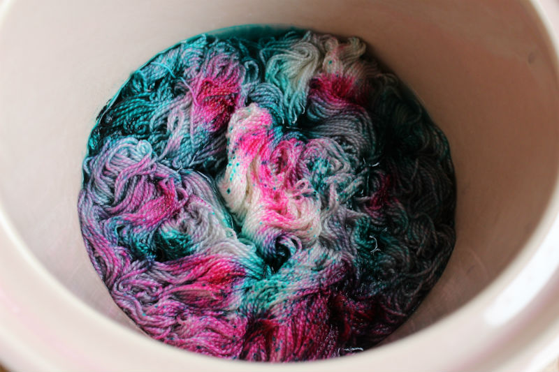 Yarn dyed in a crock pot