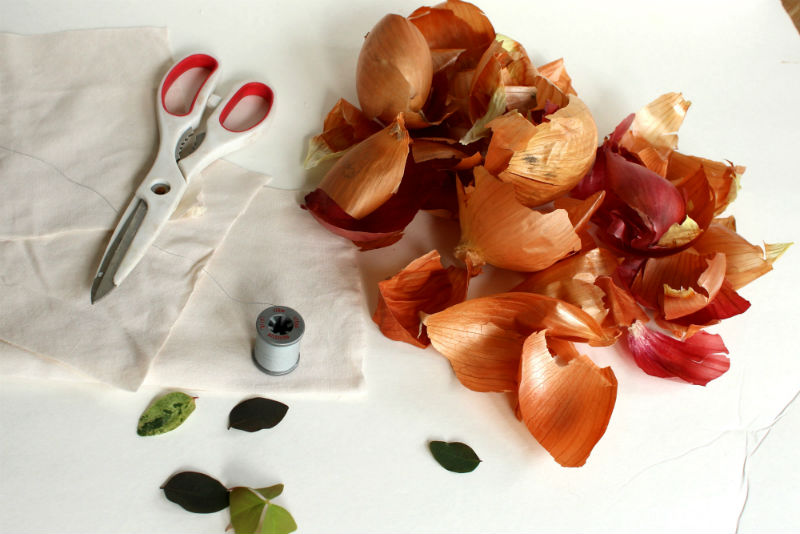 Onion skins, scissors for easter egg dyeing