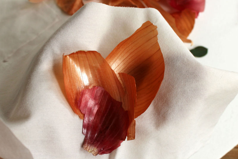 Wrapping the Easter Eggs with Scrap Fabric and onion skins