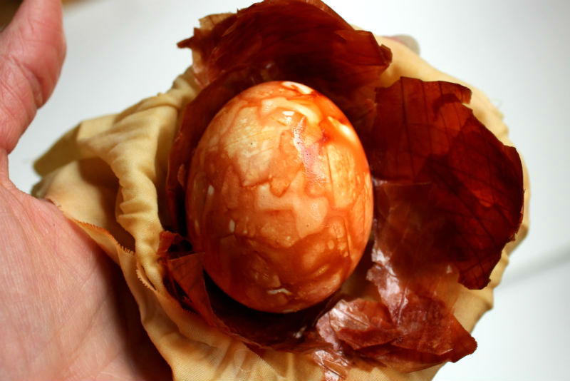 Unwrapping the natural dyed Easter Eggs