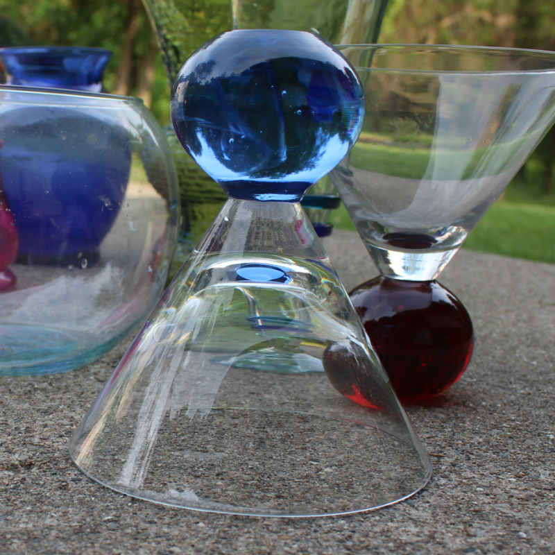 Triangle wine glass with blue base