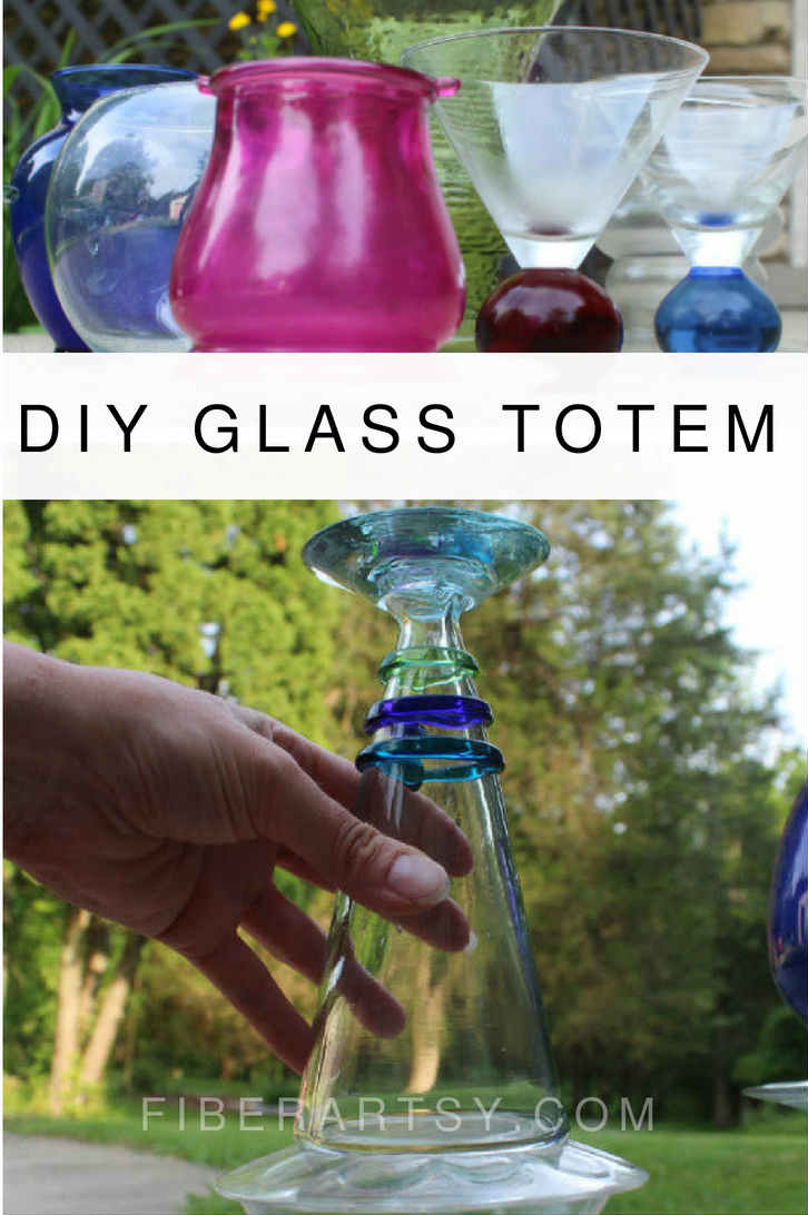 Make a colorful Glass Totem for your Garden with cheap vases from a thrift shop.