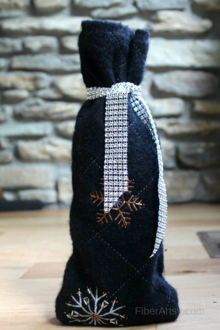 DIY Wine Bottle Sweater Bag. Repurpose an old Sweater into a Wine Sleeve
