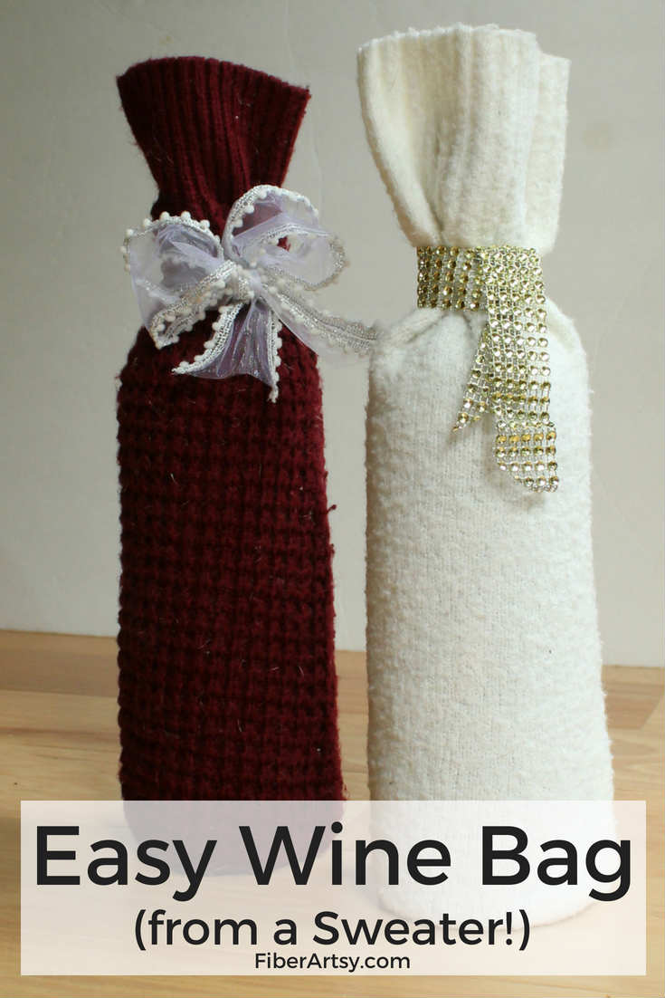 Easy DIY Wine Bag made from an Old Sweater