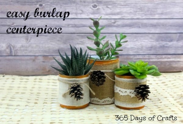 Burlap Centerpiece for Fall Decorations